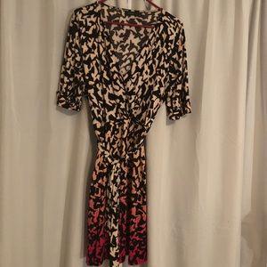 Kohls, sz XL. Ombré pink wrap dress